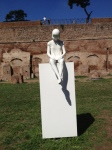 """Marisa Albanese, mixed media, """"Preparing for Combat"""" (one of 4 figures), 2000-2013, white bronze and steel"""