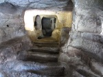 Steps to larger niches, catacombs, Cava D'Ispica