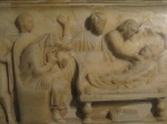 Detail, sarcophagus for child, marble, Roman era