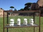 "Nino Longobardi, ""Coro"" (one of 4 vitrines), gesso and clay, 2013"