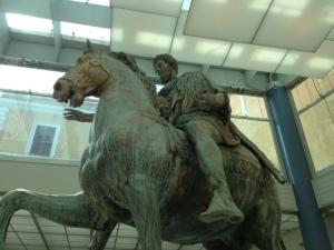 Close up of original Marcus Aurelius equestrian state, Capitoline Museum