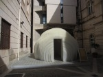 Kengo Kuma, Mobile Teahouse (front view), polycarbonate sheets and zip ties