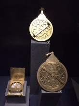 Astrolabe (to identify East), brass and steel compasses from Iran, 12th century