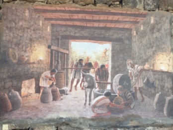 Wall painting demonstrating the oil production.