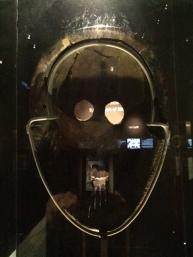 One way to tell if mask was used for ceremonial purposes to to look at the back to see if there are wear marks and to see if the facial features line up.  This exhibit allowed the viewer to see both sides.