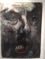 Three portraits in pastel of Meir Kahane, the controversial leader of something he called the Jewish Defense League that was racist and advocated violence against non-Jews.  He was assassinated in New York.