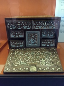 Chest for writing utensils 11th century decorated with hunting scenes.