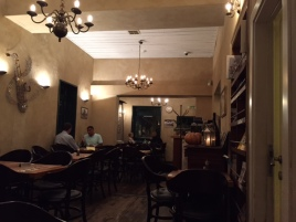 "Interior of a restaurant, very ""French"" bistro style."