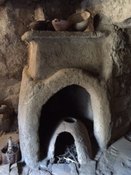 Inside the reconstructed house- the cooking area