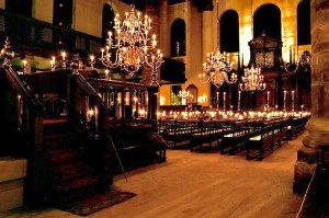 The Esnoga (Portuguese synagogue) built in the 17th century by Spanish and Portuguese Jews who fled Spain in the Inquisition.  It has no electricity and is lit completely with candles.  It was magical to be there for the evening service for Yom Kippur.