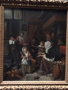 "If you are Mendocino College Art 202 you have already seen this image of ""St. Nikolaus"" by Jan Steen. If you are in CR's 1B you will be learning about this artist in a couple of weeks. I learned that I was wrong about it's interpretations (allegorical). The little girl in the foreground is not being chastised for taking the doll, she's been given the doll for being such a generous child and it's the little boy who is dissatisfied with the treat she gave him."