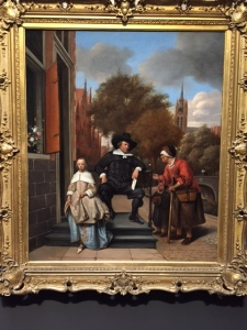 This portrait of a wealthy man and his daughter also by Jan Steen is a little odd because it shows a beggar woman and child. Why would someone want them in their portrait? Is it an allegory about generosity or stinginess? If the latter, it's hard to imagine the sitter would want to pay for the portrait.