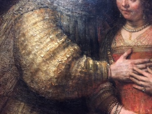 The challenge of looking at reproductions is it's so hard to see the paint surface and Rembrandt's impasto (thick paint) makes the fabric come alive.
