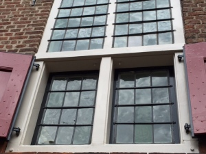 These old windows are magnificent examples of old glass that is a bit mottled.