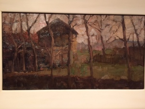 An early Mondrian landscape, very much in the Impressionist mode. The museum had a video that showed early works actually morphing into later works.