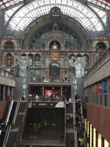 The Central Station of Antwerp.  We had to make our second train change here with the bikes.  It was built 1895-1905.  It's another amazing thing that it wasn't destroyed during World War II.