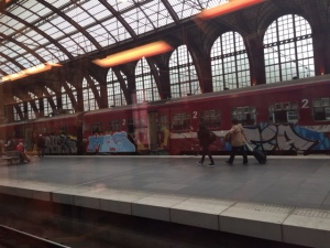 Elaborate graffiti on most trains and walls close to stations.