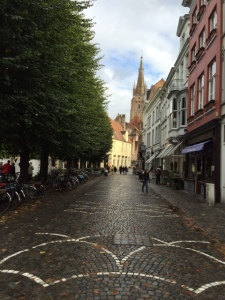 One of the first squares you come to upon entering the old part of Bruges (St. Stevinplein)