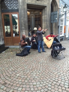 A Bach serenade in the Burg square.  Check out the lute on wheels.