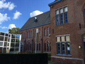 The exterior of the Groeninge Museum that exhibits work from the 15th to the 20th century.  There are 10 galleries so it's a relatively small venue though the collection is much larger.