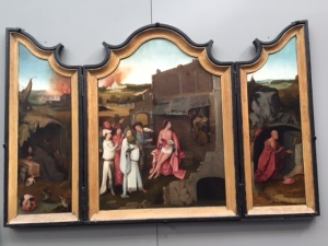 "I wanted a better reproduction to share with you of this Hieronymus Bosch but could not find any other reference to it online.  It's a triptych of the ""Trial of Job""."