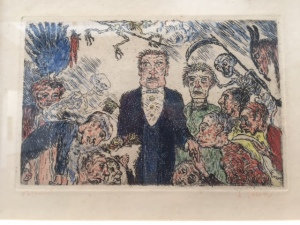 Getting closer to modern times were some small etchings by James Ensor of the Virtues and Vices.  Just like we guessed about the Breughels in class which one is this?