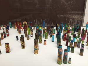 The most interesting work in the museum was a room dedicated to a group calling themselves Micromuseum.  These two young Russian artists were in residence at the museum for 2 months and repurposed old and simple materials into works of art. These are painted bullet casings.
