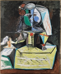 Here is the Infanta. Picasso makes her look like a birthday cake. It seems like an apt interpretation. This whole series was completed in 1957.