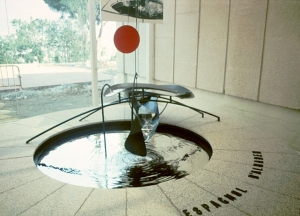 "Alexander Calder's ""Mercury Fountain"" which is flowing mercury was created at the same time that Picasso's Guernica was (1937) and in this case to acknowledge and protest the mercury mine at Almaden where slaves and prisoners were put to work and who died from mercury poisoning. It's enclosed on all sides in glass."