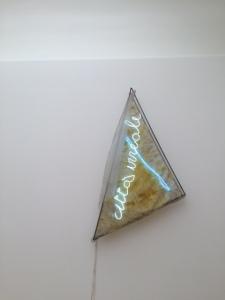 """Mario Merz, """"Unreal City"""", 1969, metal, gauze, beeswax, neon"""