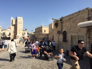 This period of time from New Years (Rosh Hashana) to Simchat Torah (beginning tomorrow) is a long vacation period in Israel for adults and children so the old city is particularly crowded.