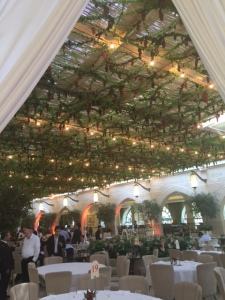 """If restaurants want business during the week of Sukkot they must have a sukkah for people to be served in as all meals must be eaten in the sukkah.  This one is at the Waldorf Astoria Hotel and it's inside but they have a glass roof so it """"counts."""""""