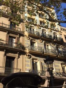 A more traditional tile facade along Las Ramblas