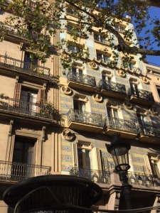 A more traditional tile facade along Las Ramblas