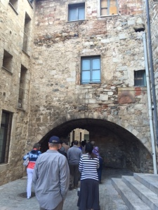 Going through a Roman arch into the heart of the historic center.