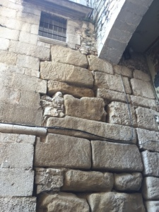 Stone on the side walls show the remnants of the Roman origins.  These are called ashlars and are similar to those found at the Western Wall in Jerusalem.