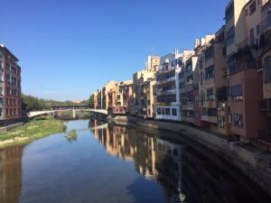 The city of Girona is between four rivers though two of them were widened to prevent flooding.  It's reminiscent of Florence with it's bridges.