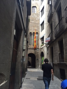 Around the corner (notice the Catalan independence flag) we get a big surprise. For those of you who are in the ancient art history classes the timing is perfect as we are talking about syncretism in class (adopting other people's imagery, etc).