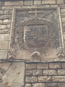 The insignia for the Inquisition.  Notice the pig at the bottom.  Spaniards are quite obsessed with pork and this is and was an issue for observant Jews who do not eat pork.  This became a life or death issue in those days.