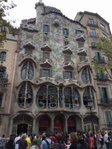 The third building is Casa Batllo by Antoni Gaudi has the most unusual facade with its undulating natural forms.  It is a renovation of a previously existing building and the renovation was done in 1906.