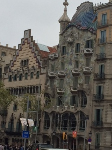 """In the newer part of town (Eixample) is another example of Modernisme.  It is a row of three building that occupy one block.  They are by three different architects and the block is called """"Illa de la Discordia"""" because of the range of styles."""