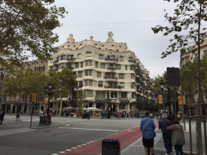 Casa Mila (La Pedrera) from across the wide boulevard where it is located. It is an apartment building that was either loved or reviled at the time and eventually fell into disrepair. Now a UNESCO site it has been refurbished inside and out.