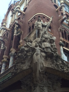 """The exterior corner of the Palau Musica de Catalunya. The building was completed in 1908 in the """"old"""" part of Barcelona."""
