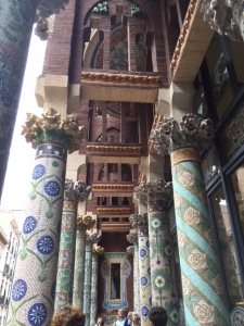 Close up of the mosaic columns in the front balcony of the hall.