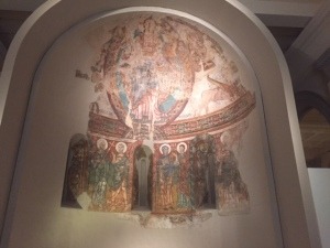 The museum has the greatest collection of Romanesque art in the world. This is one of a number of 12th century frescoes from San Climent de Taull, a mountain church in the Pyrenees where they were in danger of deteriorating completely or being sold to private collectors or museums abroad.