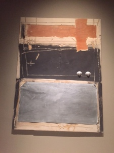 In the same room as the Pantokrater is a painting by Antonin Tapies