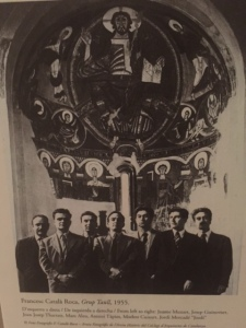"Antoni Tapies, a native son of Barcelona is shown in this photograph with other artists in front of the ""Christ in Majesty"" when it was installed"