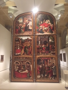 Large altarpiece doors (front) by Pere Nunyes, 1526. Not an artist I am familiar with but impressed with the scale and in the next slide is the back.