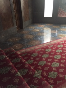Harmony between the tile patterned floor and the carpeting. It should be noted the Palau was closed from 1990-2011 for extensive renovation to restore the Palau to its former glory.