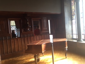 In the piano room you can see how much light comes in and behind are windows in the wall instead of a solid wall.